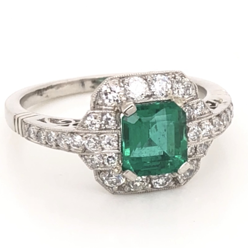 Platinum Art Deco GIA Lab Report Emerald &  Diamond Ring
