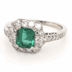 Closeup photo of Platinum Art Deco 1.06ct GIA Lab Report Emerald & .60tcw Diamond Ring 5.2g, s7.25
