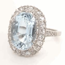 Closeup photo of Platinum Art 6.10ct Oval Aquamarine & 1.10tcw OEC Diamond Ring 7.2g, 6.75
