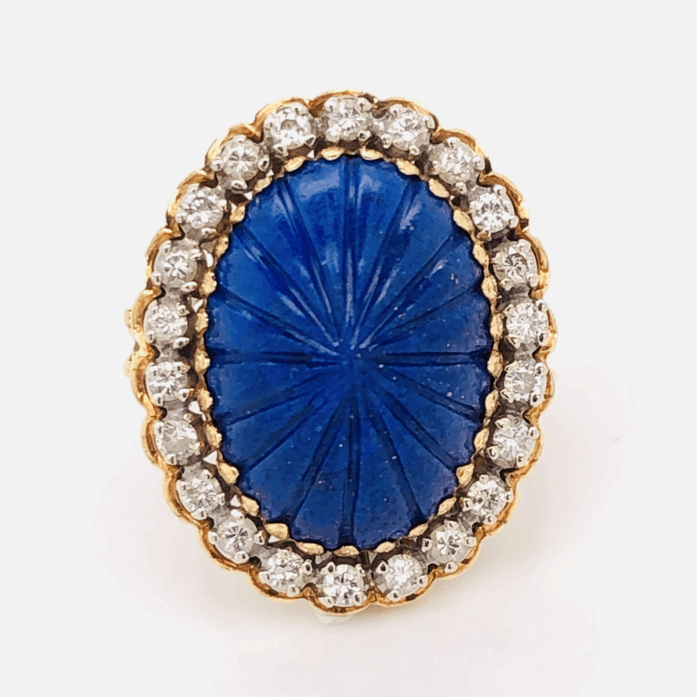 18K Yellow Gold Carved Cabochon Lapis Lazuli & .45tcw diamond Ring 9.3g, s5.5