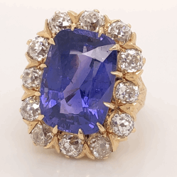 14K Yellow Gold Victorian 15.00ct NO HEAT Rectangular Cushion Sapphire AGL report 3.00tcw OEC diamonds 13.3g, s5.75