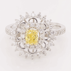 18K White Gold .51ct Fancy Intense Yellow Diamond & .50tcw diamond Ring GIA 3.4g, s7