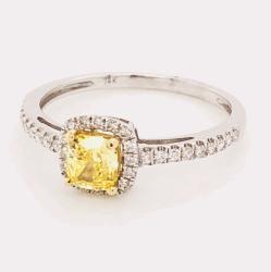 14K White Gold .57ct Fancy Vivid Yellow Diamond & .24tcw diamond Ring 1.8g, s7