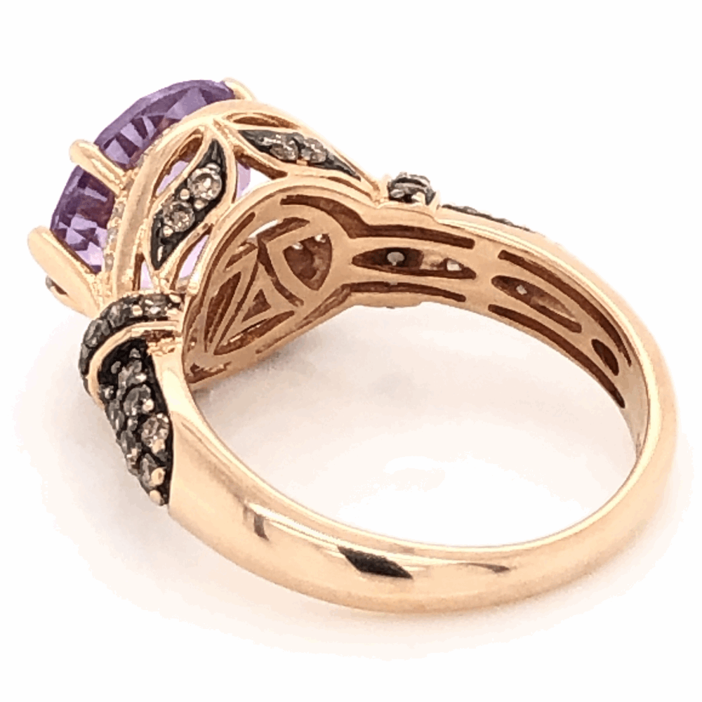 Image 2 for 14K Rose Gold LEVIAN 3ct Amethyst & .54tcw Diamond Ring 5.08g, s7