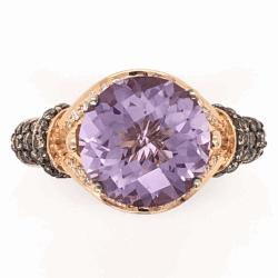 Closeup photo of 14K Rose Gold LEVIAN 3ct Amethyst & .54tcw Diamond Ring 5.08g, s7