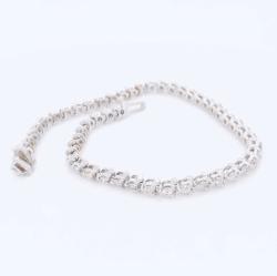 "Closeup photo of 14K White Gold 3.00tcw Diamond 3 Prong Line Bracelet 8.3g, 7"""