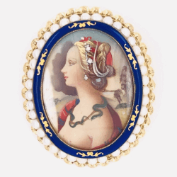 "Closeup photo of 14K Yellow Gold Hand Painted Portrait Brooch Pendant .02tcw Diamonds, Enamel, Seed Pearls 11.6g 2"" tall"