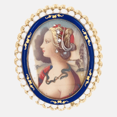 """Closeup photo of 14K Yellow Gold Hand Painted Portrait Brooch Pendant .02tcw Diamonds, Enamel, Seed Pearls 11.6g 2"""" tall"""