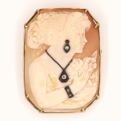 """Closeup photo of 14K Yellow Gold Fine Quality Shell Cameo with .15tcw Diamonds 16.8g, 2"""" tall"""