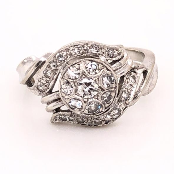 Closeup photo of 14K White Gold 1950's Cluster Diamond Ring .40tcw 3.6g, s6