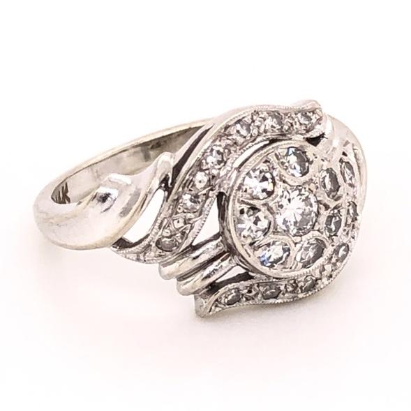 14K White Gold 1950's Cluster Diamond Ring .40tcw 3.6g, s6