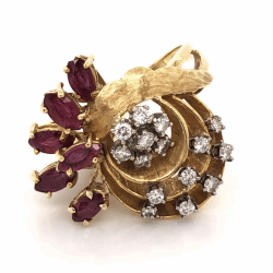 Closeup photo of 18K Yellow Gold 1960's Spray Ring .75tcw Diamond & .75tcw Marquis Rubies 8.8g, s5