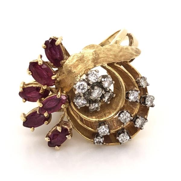 Closeup photo of 18K Yellow Gold 1960's Spray Ring .75tcw Diamond & .75tcw Marquis Rubies 8.8g, s5