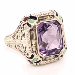 Closeup photo of 14K White Gold Art Deco 3ct Amethyst, Enamel & Seed Pearl Ring 2.9g, s4.5