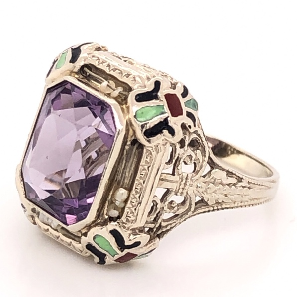 Image 2 for 14K White Gold Art Deco 3ct Amethyst, Enamel & Seed Pearl Ring 2.9g, s4.5