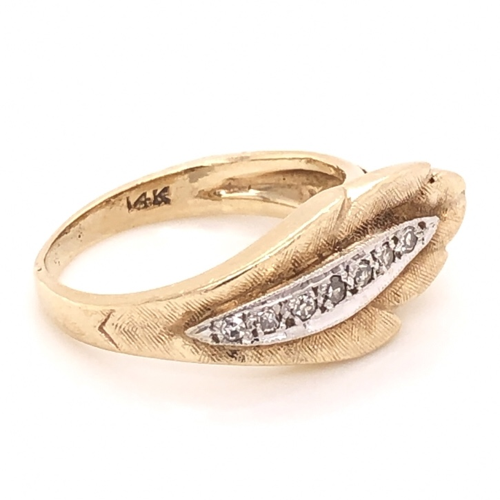 Image 2 for 14K Yellow Gold LEAF Band Ring .10tcw Diamonds 3.7g, s4.5