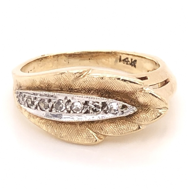 14K Yellow Gold LEAF Band Ring .10tcw Diamonds 3.7g, s4.5