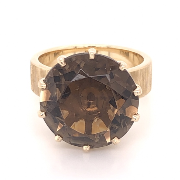 Closeup photo of 14K Yellow Gold 9.00ct Smokey Quartz in 10 Prong Brushed Band Ring 7.7g, s5.75