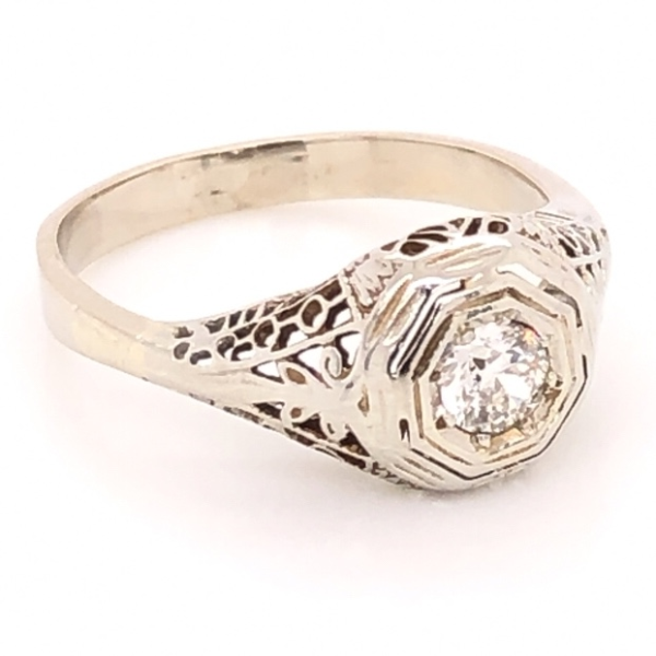 Closeup photo of 14K White Gold Art Deco Filigree .17ct Old European Cut Diamond Ring 1.8g, s3.75