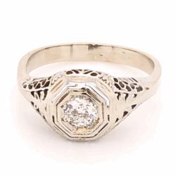 Closeup photo of 14K White Gold Art Deco Filigree .17ct Old European Cut Diamond Ring 1.8g, s3.75