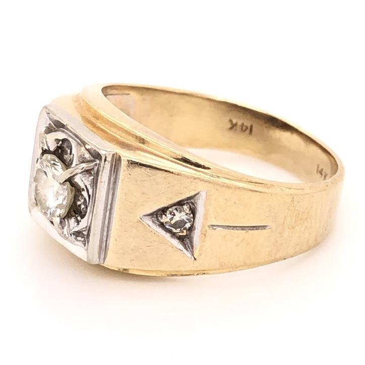 Image 2 for 14K Yellow Gold Mens .64ct Round Brilliant Diamond & .15tcw diamond sides 6.8g, s10