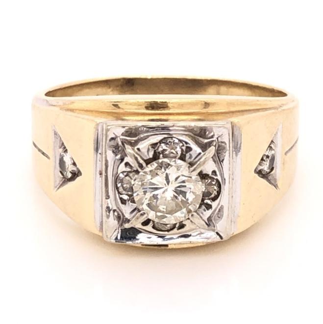 14K Yellow Gold Mens .64ct Round Brilliant Diamond & .15tcw diamond sides 6.8g, s10