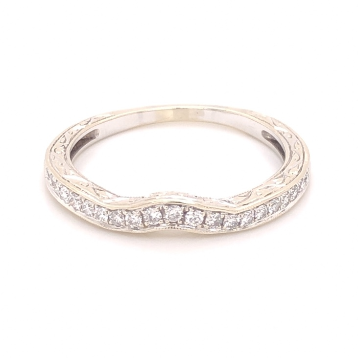 14K White Gold Engraved & Notched Diamond Band Ring .35tcw, 3.3g, s9.75