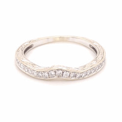 Closeup photo of 14K White Gold Engraved & Notched Diamond Band Ring .35tcw, 3.3g, s9.75