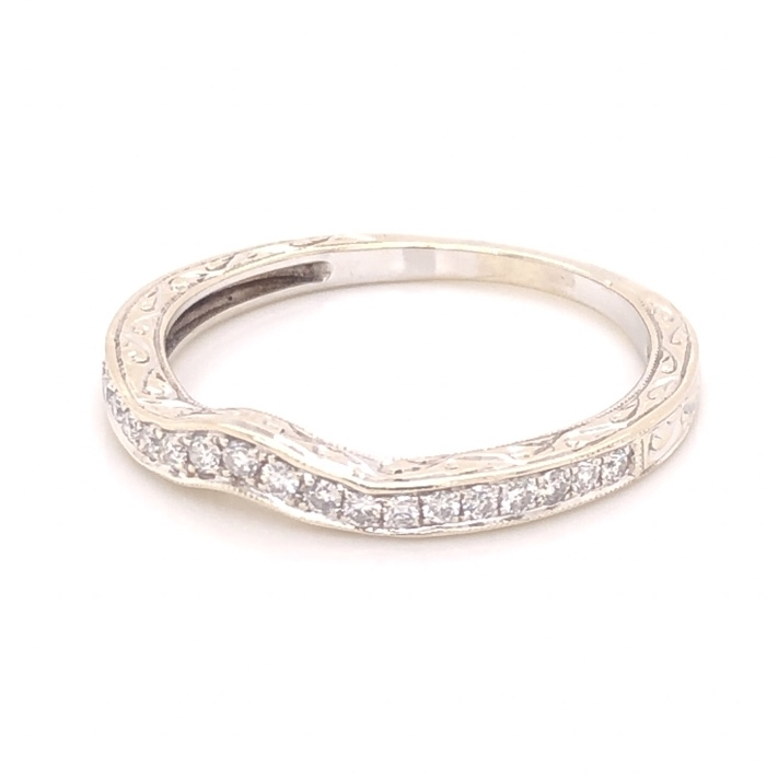 Image 2 for 14K White Gold Engraved & Notched Diamond Band Ring .35tcw, 3.3g, s9.75