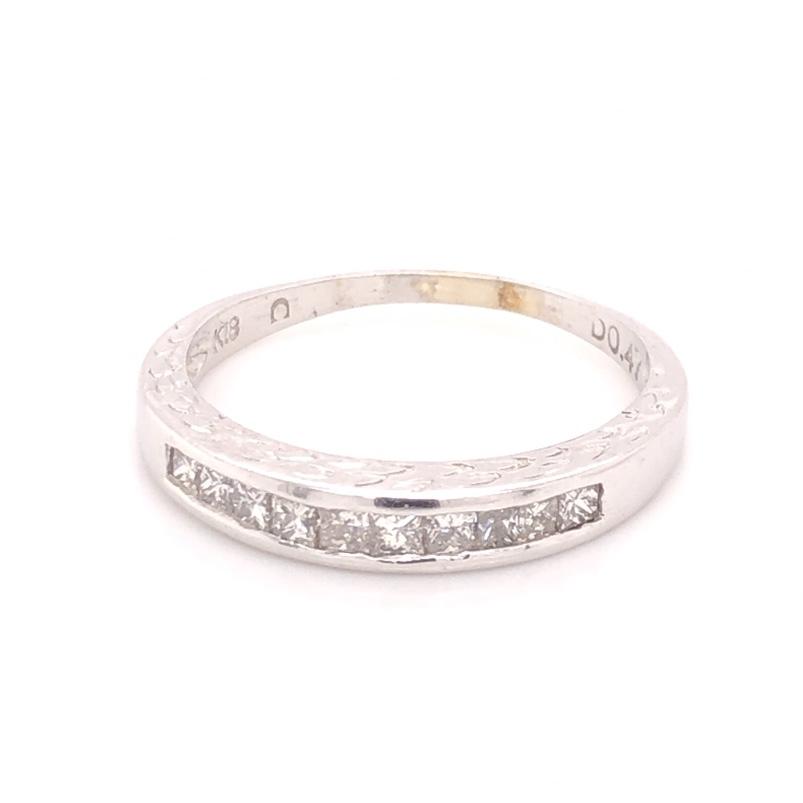 18K White Gold Engraved .47tcw Princess Cut Diamond Band Ring 3.5g, s9