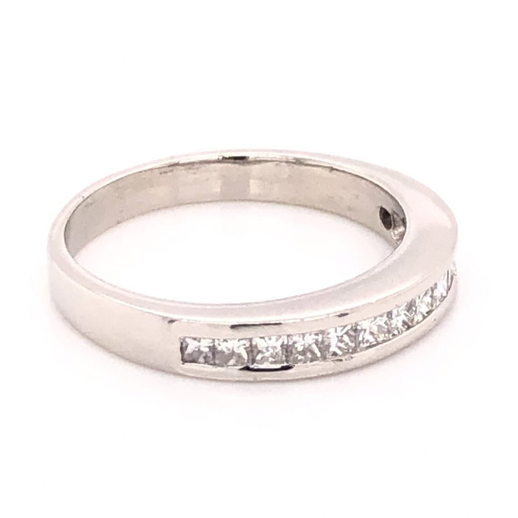Image 2 for Platinum Channel Set Princess Cut Diamond Band Ring .52tcw, 5.3g, s7