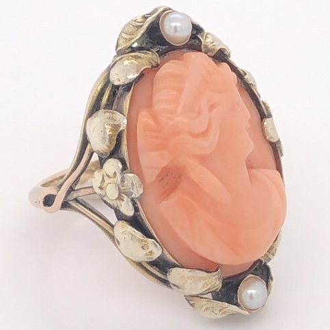 Image 2 for 10K Yellow Gold Victorian Arts & Crafts Cameo Carved Coral & Seed Pearl Ring 5.2g, 4.75