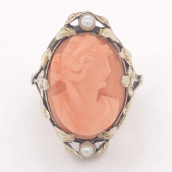 Closeup photo of 10K Yellow Gold Victorian Arts & Crafts Cameo Carved Coral & Seed Pearl Ring 5.2g, 4.75