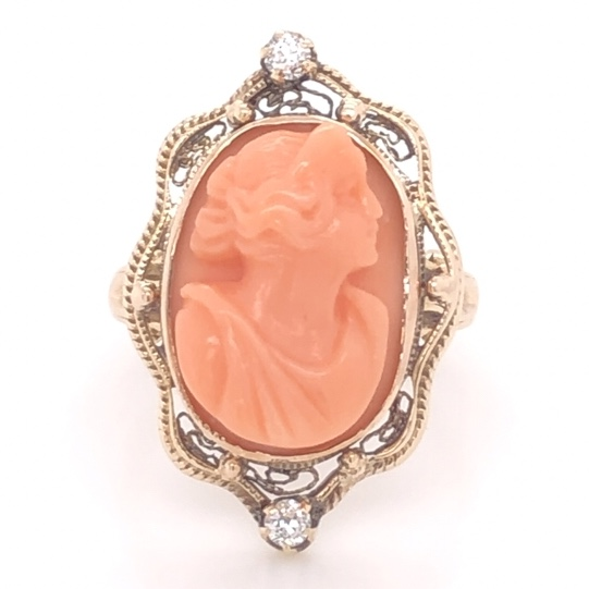 Closeup photo of 10K Yellow Gold Victorian Carved Coral Cameo & .12tcw Diamond Ring 4.2g, s5.5 c1870's