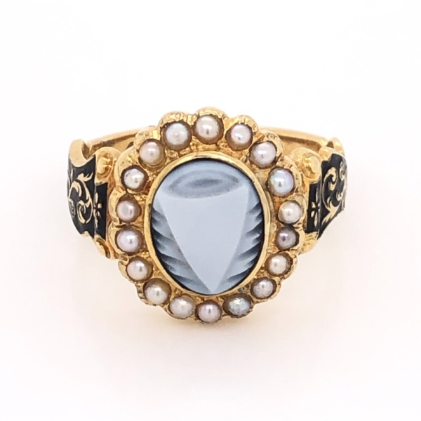 "Closeup photo of 14K Yellow Gold Victorian Carved Onyx, Seed Pearl & Enamel Ring ""c1863, In Memory"" 4.7g, s6.5"