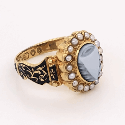 """Closeup photo of 14K Yellow Gold Victorian Carved Onyx, Seed Pearl & Enamel Ring """"c1863, In Memory"""" 4.7g, s6.5"""