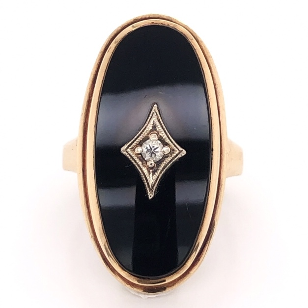 Image 2 for 10K Yellow Gold Victorian Oval Onyx Ring .04tcw Diamond 6.4g, s5.25