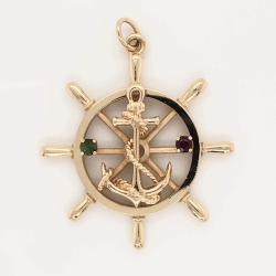 """Closeup photo of 14K Yellow Gold Anchor on Helm Charm Pendant with Ruby & Peridot 8.9g, 1.5"""""""