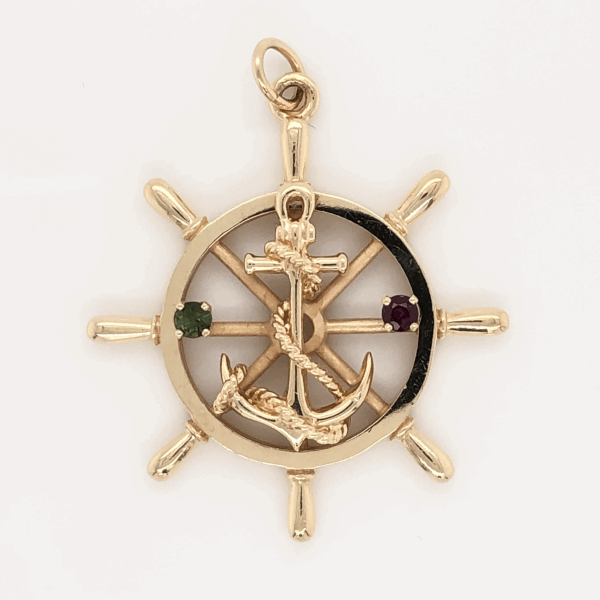 Closeup photo of 14K Yellow Gold Anchor on Helm Charm Pendant with Ruby & Peridot 8.9g, 1.5""