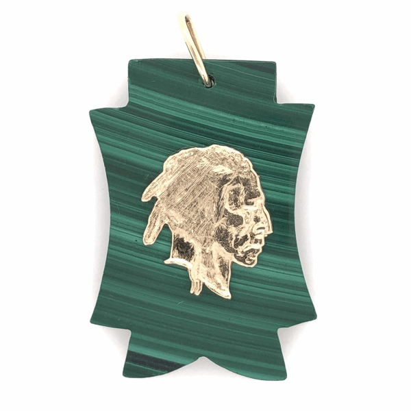 "Closeup photo of 14K Yellow Gold Indian Head on Carved Malachite Charm Pendant 11.5g 1.75"" tall"