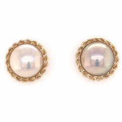 "Closeup photo of 14K Yellow Gold Mabe Pearl Earrings with Rope style Bezel 5/8"" diameter 4.7g"