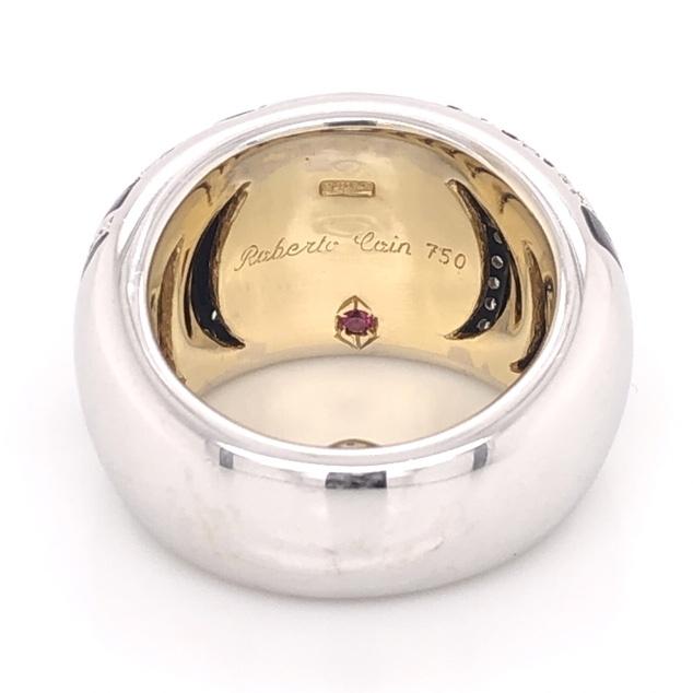 Image 2 for 18K White & Yellow Gold ROBERTO COIN Zebra .72tcw Diamond & Enamel Ring 16.6g, s5.5