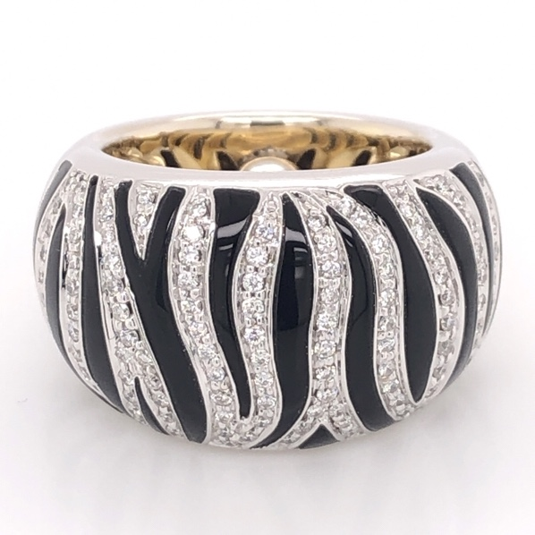 18K White & Yellow Gold ROBERTO COIN Zebra .72tcw Diamond & Enamel Ring 16.6g, s5.5
