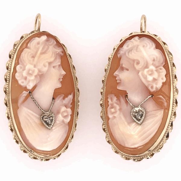 "Closeup photo of 14K Yellow Gold Shell Cameo Diamond Earrings with Shepard Hooks 6.5g, 1.75"" tall"