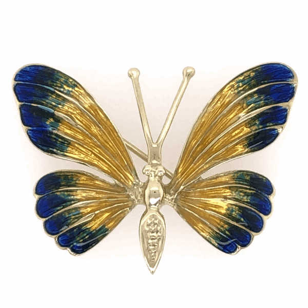 Closeup photo of 14K Yellow Gold Enamel Butterfly Brooch Pin Yellow, Blue & Green Enamel 8.1g, 1 3/8x1""