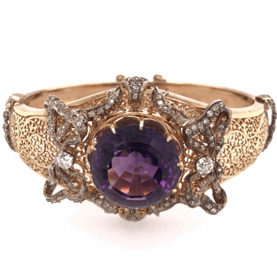 Closeup photo of 14K Rose Gold Victorian 25ct Round Amethyst & 2.25tcws Double Hinged Cuff Bracelet 49.8g