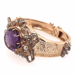 14K Rose Gold Victorian 25ct Round Amethyst & 2.25tcws Double Hinged Cuff Bracelet 49.8g