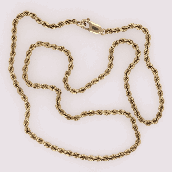 "Closeup photo of 14K Yellow Gold Rope Chain 18.8g, 19.5"" Long"