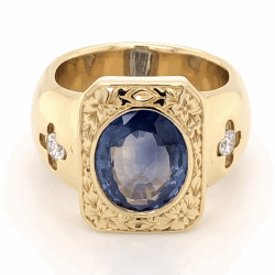 Closeup photo of 18K Yellow Gold 1960's 4ct Oval Sapphire & .32tcw Diamond Ring 29.2g, s8.5