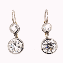 "Platinum & 18K Yellow Gold Edwardian Drop Earrings 2 are 3.43tcw OEC & 2 are .67tcw OEC Diamonds 7/8"" tall"